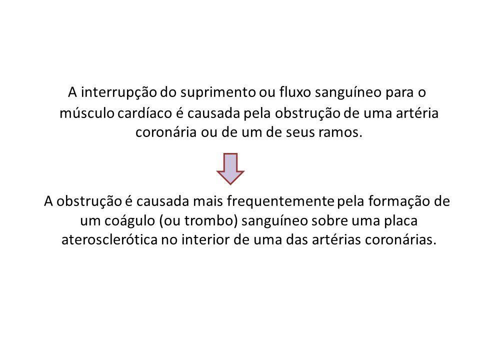 A interrupção do suprimento ou fluxo sanguíneo para o músculo cardíaco é causada pela obstrução de uma artéria coronária ou de um de seus ramos. A obs