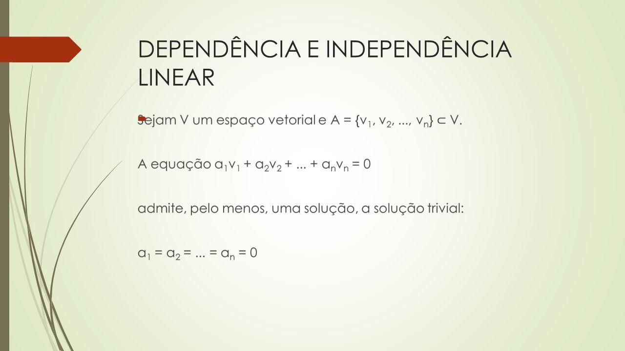 Vetores linearmente independentes têm representação geométrica em direção distinta (vetores não colineares).