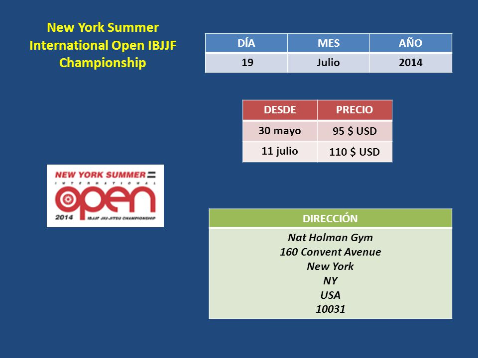 New York Summer International Open IBJJF Championship DÍAMESAÑO 19Julio2014 DESDEPRECIO 30 mayo 95 $ USD 11 julio 110 $ USD DIRECCIÓN Nat Holman Gym 160 Convent Avenue New York NY USA 10031