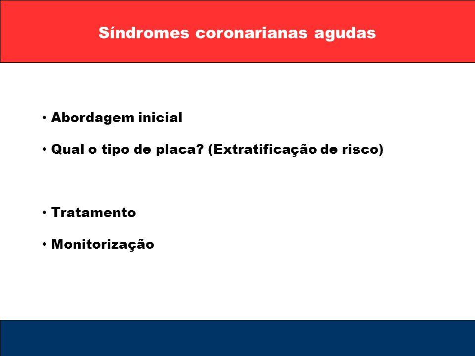 Síndromes coronarianas agudas Abordagem inicial Qual o tipo de placa? (Extratificação de risco) Tratamento Monitorização
