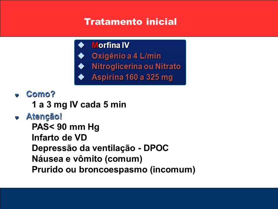  Morfina IV  Oxigênio a 4 L/min  Nitroglicerina ou Nitrato  Aspirina 160 a 325 mg  Como? 1 a 3 mg IV cada 5 min  Atenção! PAS< 90 mm Hg Infarto