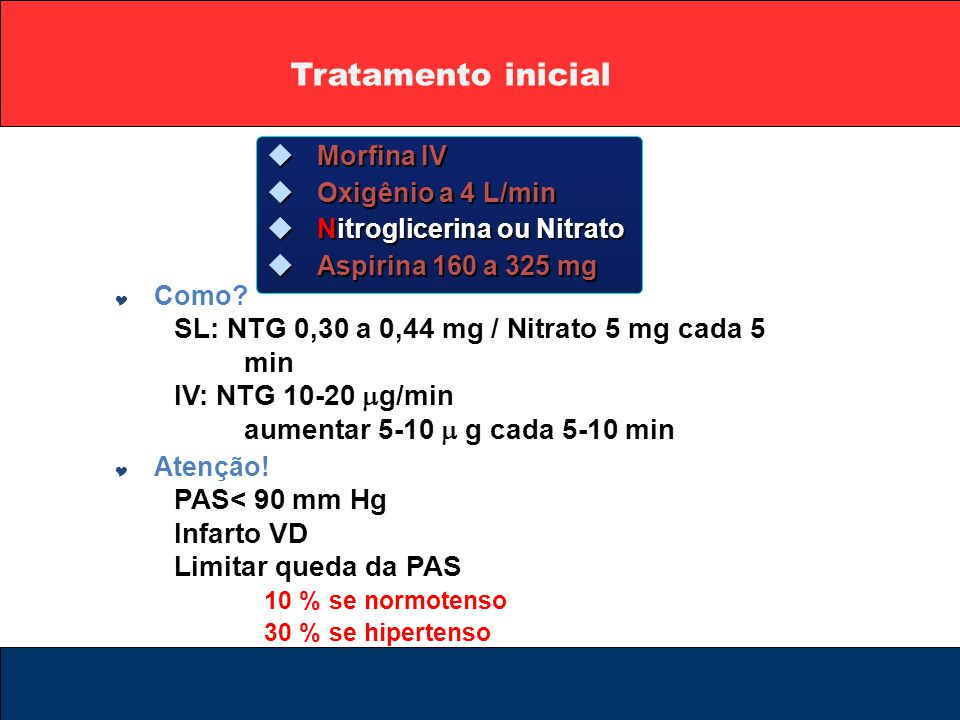 Tratamento inicial  Morfina IV  Oxigênio a 4 L/min  Nitroglicerina ou Nitrato  Aspirina 160 a 325 mg  Como? SL: NTG 0,30 a 0,44 mg / Nitrato 5 mg
