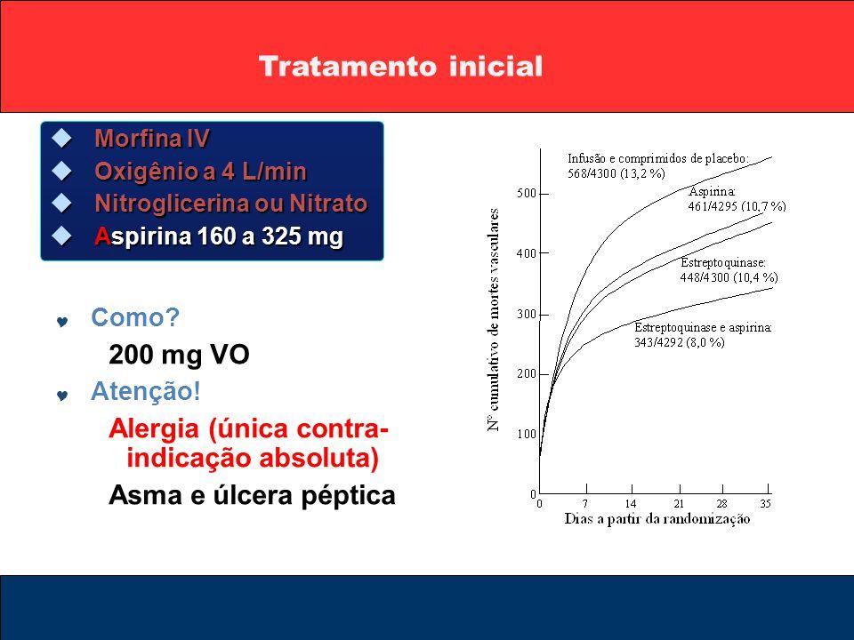 Tratamento inicial  Morfina IV  Oxigênio a 4 L/min  Nitroglicerina ou Nitrato  Aspirina 160 a 325 mg  Como? 200 mg VO  Atenção! Alergia (única c