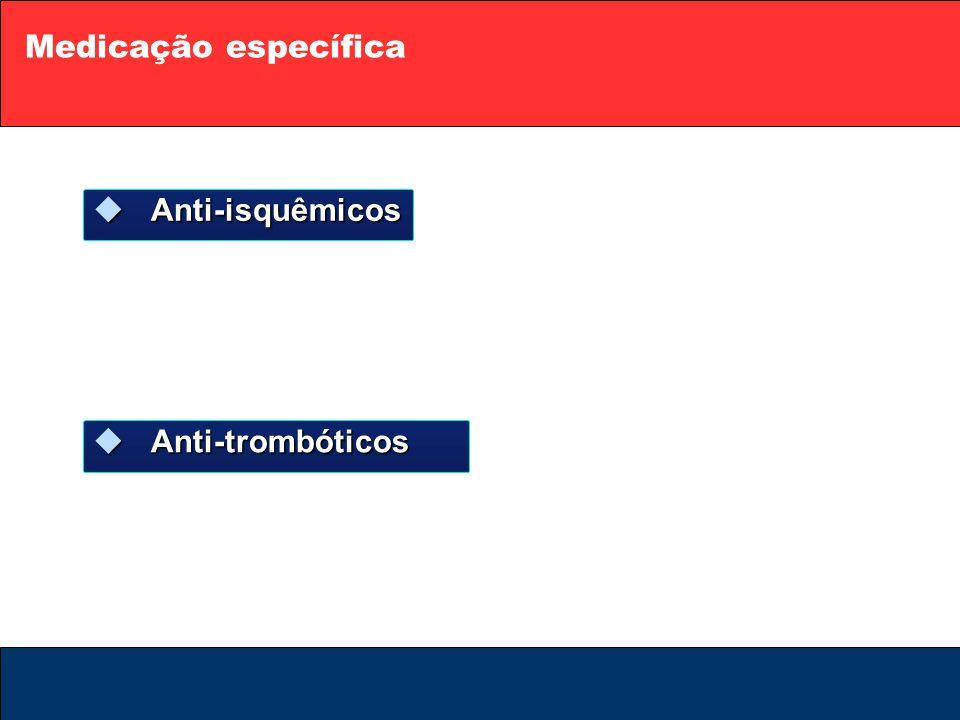 Medicação específica  Anti-isquêmicos  Anti-trombóticos