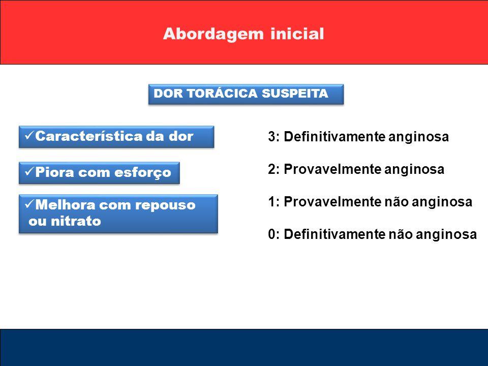 Abordagem inicial DOR TORÁCICA SUSPEITA Característica da dor Piora com esforço Melhora com repouso ou nitrato Melhora com repouso ou nitrato 3: Defin