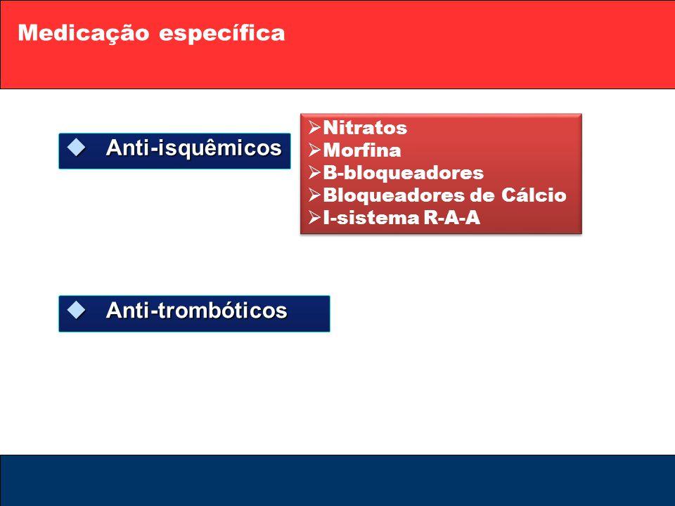 Medicação específica  Anti-isquêmicos  Anti-trombóticos  Nitratos  Morfina  B-bloqueadores  Bloqueadores de Cálcio  I-sistema R-A-A  Nitratos