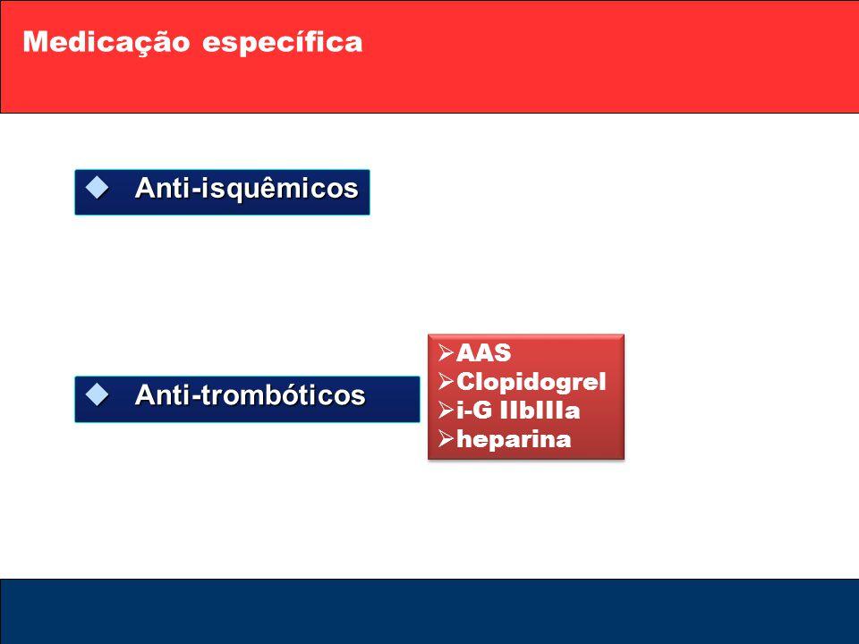 Medicação específica  Anti-isquêmicos  Anti-trombóticos  AAS  Clopidogrel  i-G IIbIIIa  heparina  AAS  Clopidogrel  i-G IIbIIIa  heparina