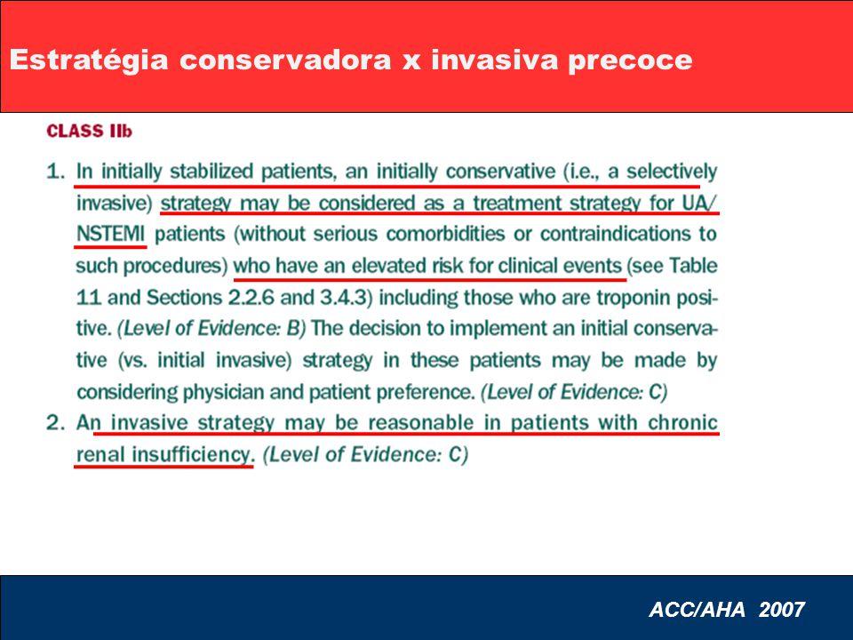 Estratégia conservadora x invasiva precoce ACC/AHA 2007