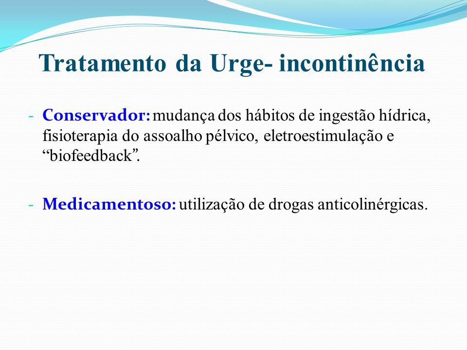 """Tratamento da Urge- incontinência - Conservador: mudança dos hábitos de ingestão hídrica, fisioterapia do assoalho pélvico, eletroestimulação e """"biofe"""