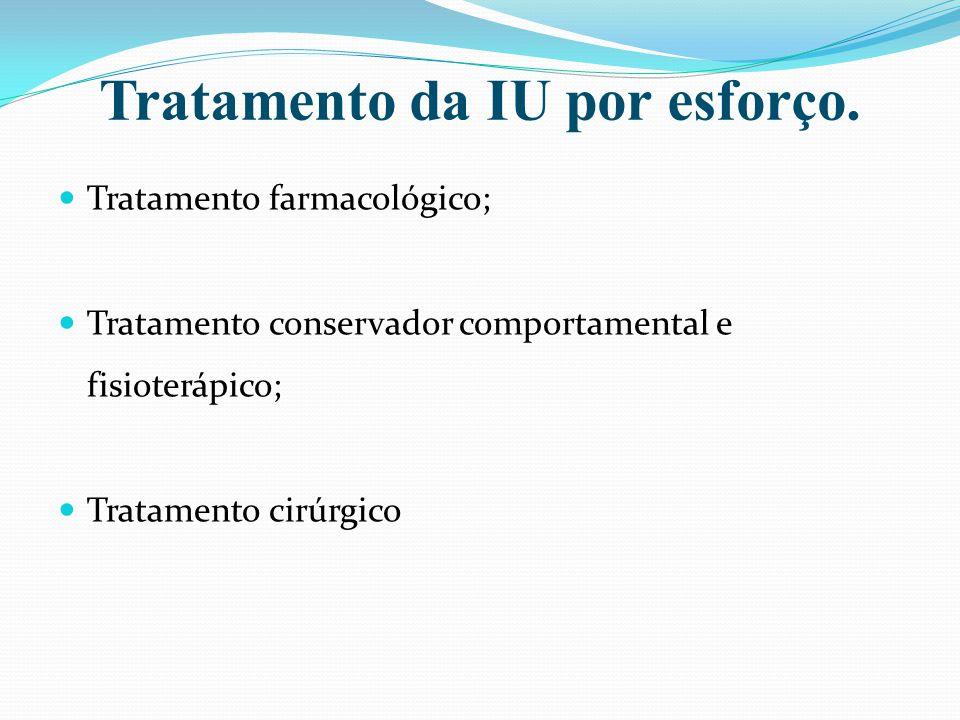 Tratamento da IU por esforço. Tratamento farmacológico; Tratamento conservador comportamental e fisioterápico; Tratamento cirúrgico