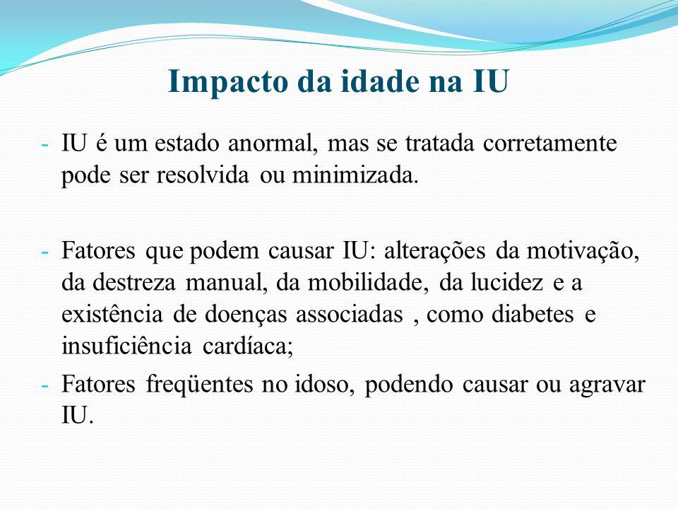 Impacto da idade na IU - IU é um estado anormal, mas se tratada corretamente pode ser resolvida ou minimizada. - Fatores que podem causar IU: alteraçõ