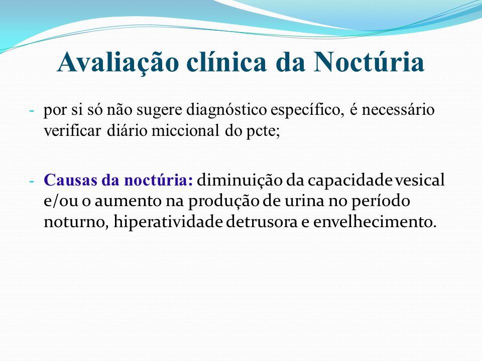 - Noctúria associa-se a sintomas do trato urinário inferior, distúrbios do sono e tempo que pcte permanece na cama.