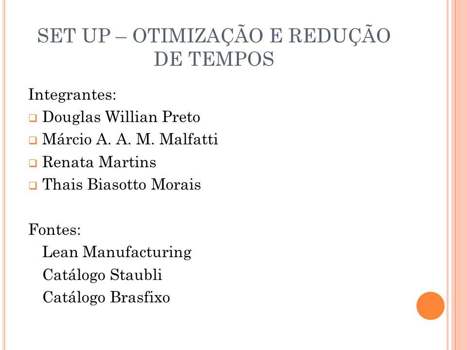 SET UP – OTIMIZAÇÃO E REDUÇÃO DE TEMPOS Integrantes:  Douglas Willian Preto  Márcio A. A. M. Malfatti  Renata Martins  Thais Biasotto Morais Fonte
