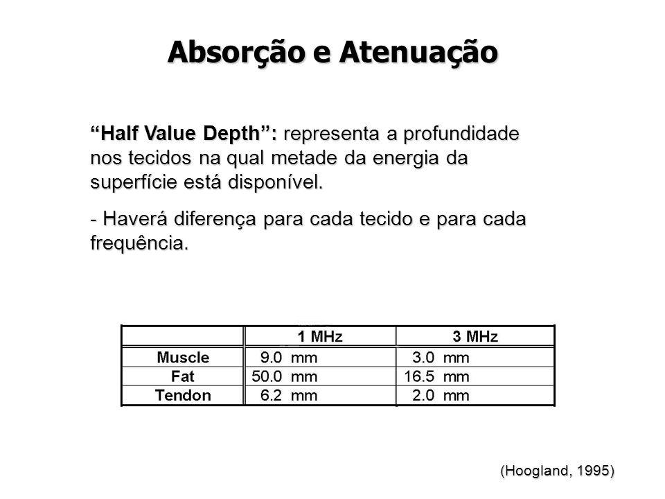 """Absorção e Atenuação """"Half Value Depth"""": representa a profundidade nos tecidos na qual metade da energia da superfície está disponível. - Haverá difer"""