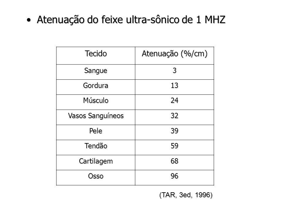 Atenuação do feixe ultra-sônico de 1 MHZAtenuação do feixe ultra-sônico de 1 MHZ (TAR, 3ed, 1996) Tecido Atenuação (%/cm) Sangue3 Gordura13 Músculo24 Vasos Sanguíneos 32 Pele39 Tendão59 Cartilagem68 Osso96