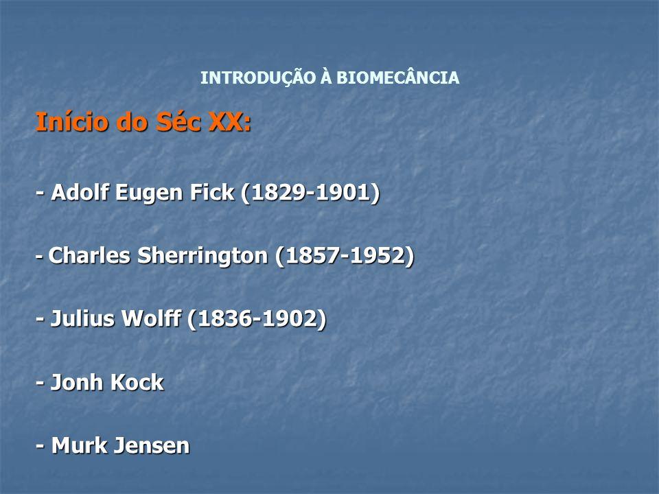 Início do Séc XX: - Adolf Eugen Fick (1829-1901) - Charles Sherrington (1857-1952) - Julius Wolff (1836-1902) - Jonh Kock - Murk Jensen INTRODUÇÃO À B
