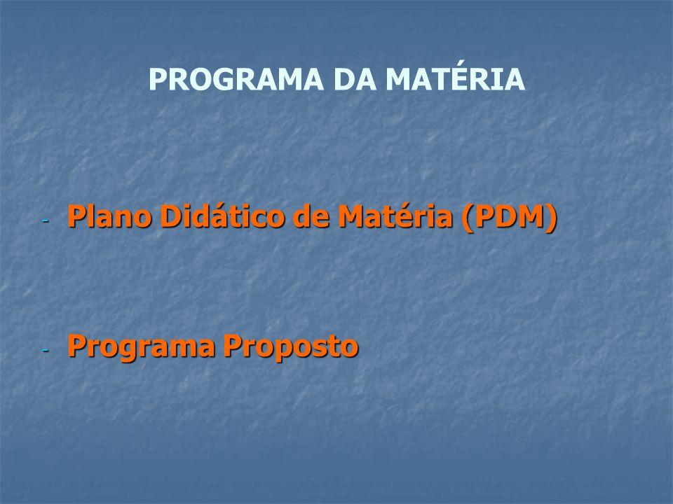 PROGRAMA DA MATÉRIA - Plano Didático de Matéria (PDM) - Programa Proposto