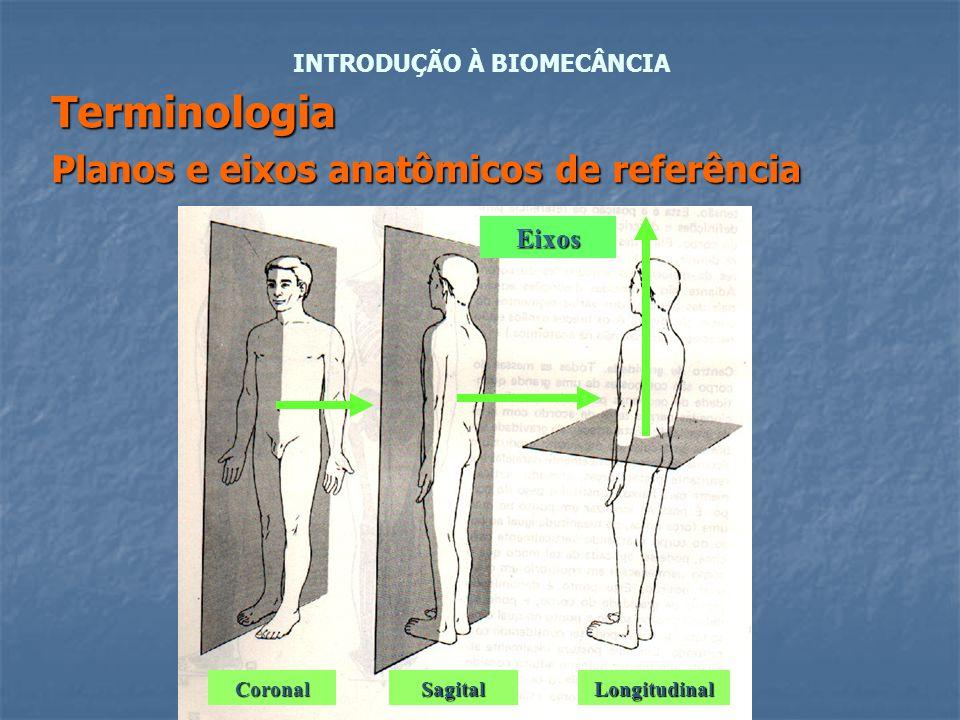 Terminologia Planos e eixos anatômicos de referência INTRODUÇÃO À BIOMECÂNCIA Eixos CoronalSagitalLongitudinal