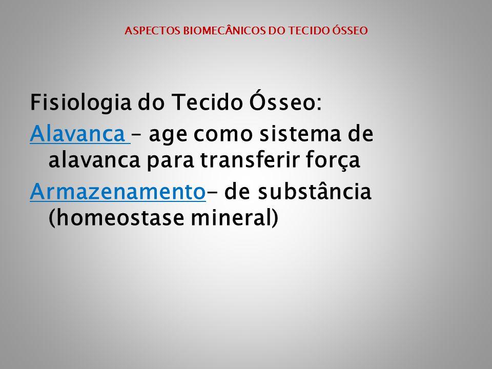 ASPECTOS BIOMECÂNICOS DO TECIDO ÓSSEO Fisiologia do Tecido Ósseo: Alavanca – age como sistema de alavanca para transferir força Armazenamento- de subs