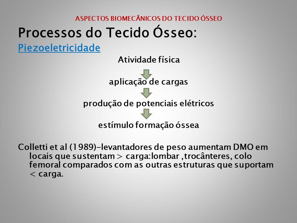 ASPECTOS BIOMECÂNICOS DO TECIDO ÓSSEO Processos do Tecido Ósseo: Piezoeletricidade Atividade física aplicação de cargas produção de potenciais elétric