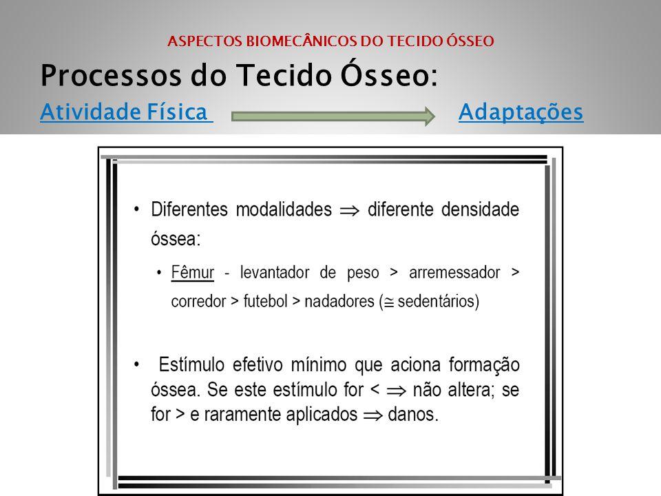 ASPECTOS BIOMECÂNICOS DO TECIDO ÓSSEO Processos do Tecido Ósseo: Atividade Física Adaptações