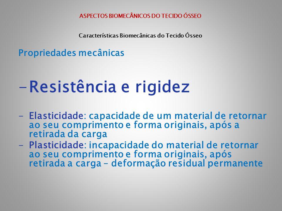 ASPECTOS BIOMECÂNICOS DO TECIDO ÓSSEO Características Biomecânicas do Tecido Ósseo Propriedades mecânicas -Resistência e rigidez -Elasticidade: capaci