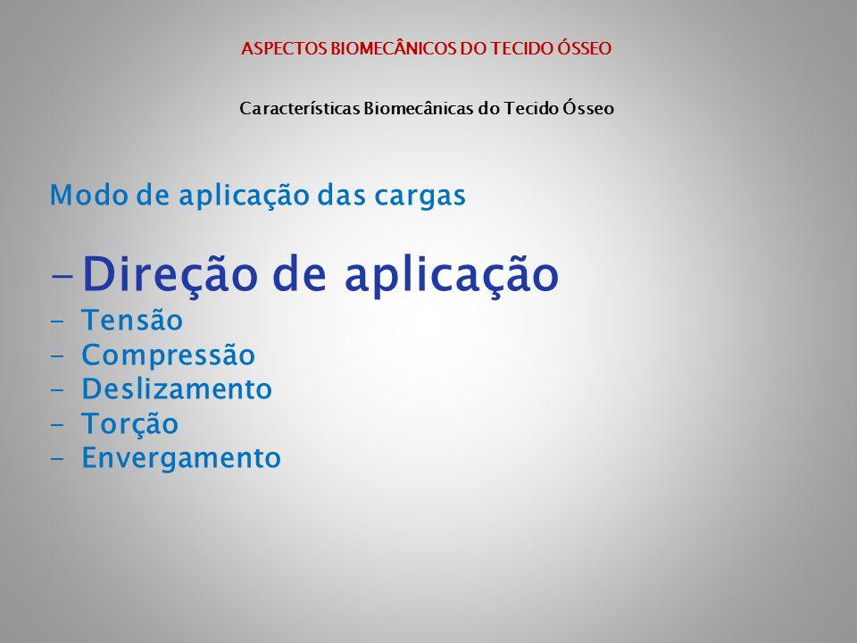 ASPECTOS BIOMECÂNICOS DO TECIDO ÓSSEO Características Biomecânicas do Tecido Ósseo Modo de aplicação das cargas -Direção de aplicação -Tensão -Compres