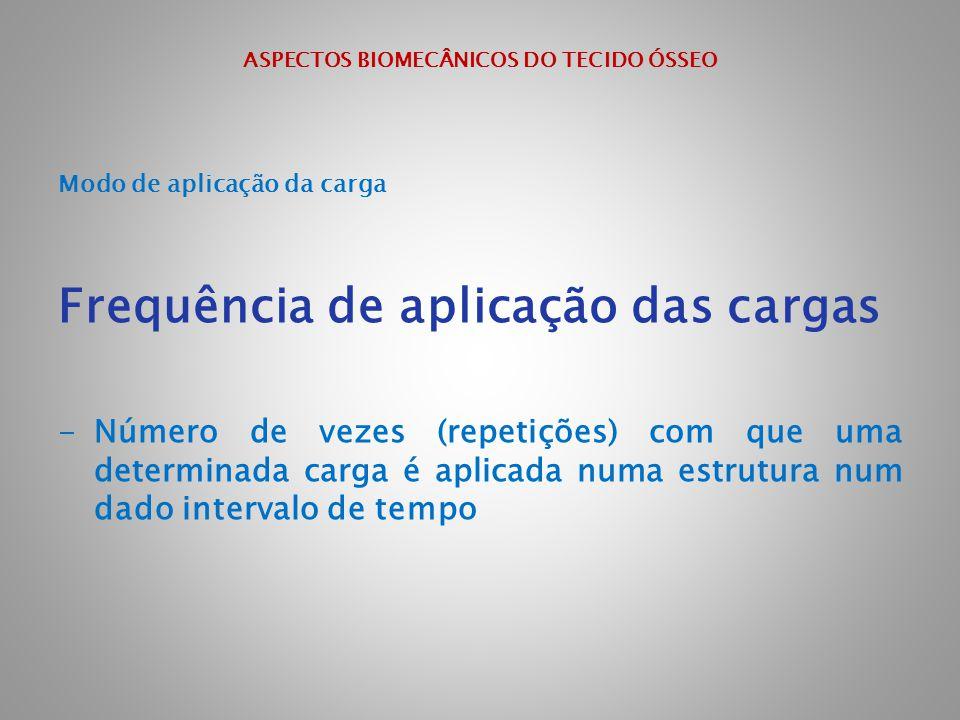 ASPECTOS BIOMECÂNICOS DO TECIDO ÓSSEO Modo de aplicação da carga Frequência de aplicação das cargas -Número de vezes (repetições) com que uma determin