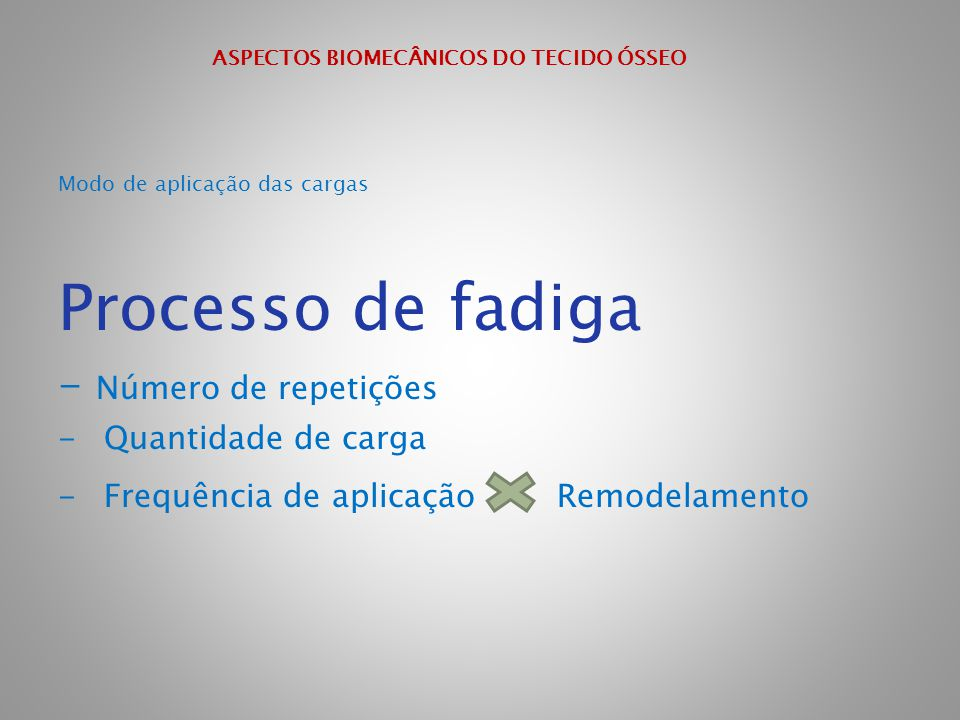 ASPECTOS BIOMECÂNICOS DO TECIDO ÓSSEO Modo de aplicação das cargas Processo de fadiga - Número de repetições - Quantidade de carga - Frequência de apl