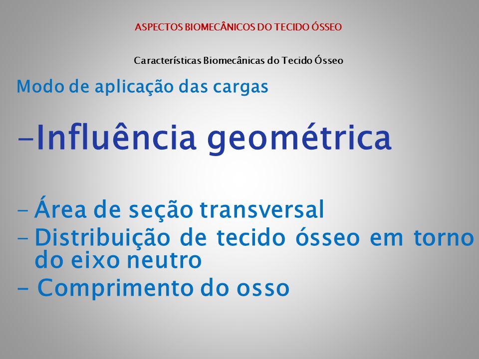 ASPECTOS BIOMECÂNICOS DO TECIDO ÓSSEO Características Biomecânicas do Tecido Ósseo Modo de aplicação das cargas -Influência geométrica -Área de seção