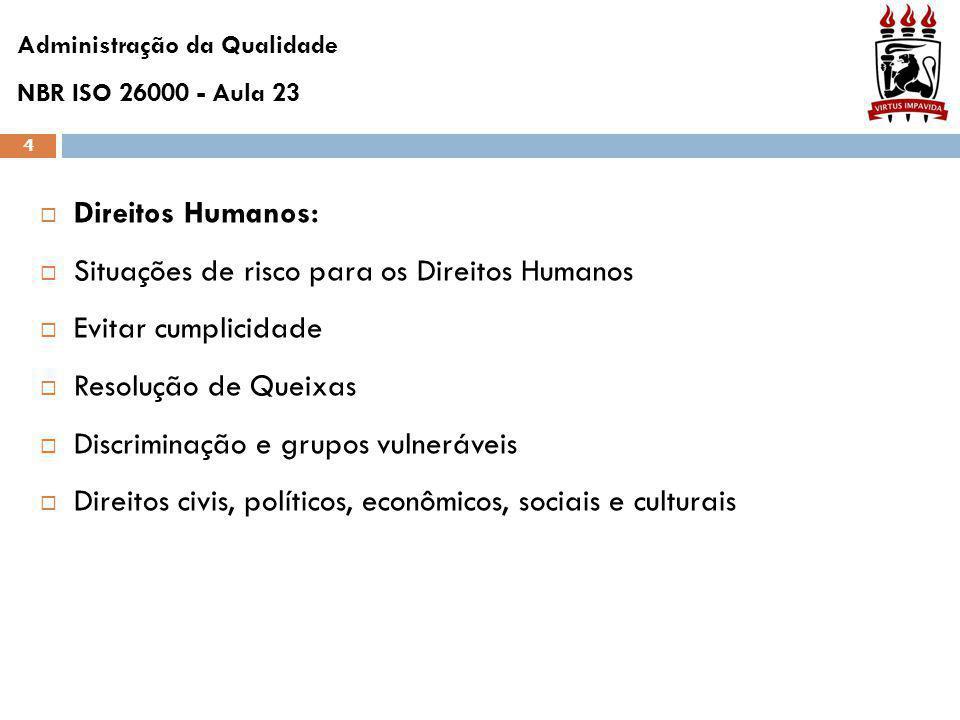4  Direitos Humanos:  Situações de risco para os Direitos Humanos  Evitar cumplicidade  Resolução de Queixas  Discriminação e grupos vulneráveis  Direitos civis, políticos, econômicos, sociais e culturais Administração da Qualidade NBR ISO 26000 - Aula 23