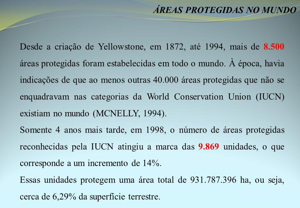 Desde a criação de Yellowstone, em 1872, até 1994, mais de 8.500 áreas protegidas foram estabelecidas em todo o mundo.