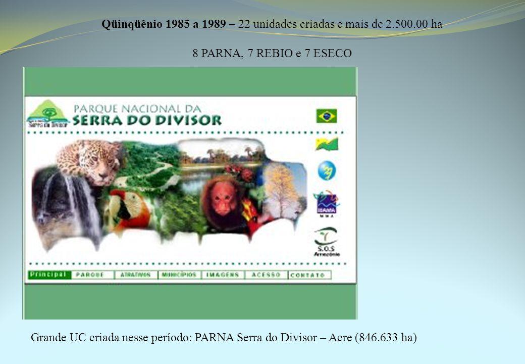 Qüinqüênio 1985 a 1989 – 22 unidades criadas e mais de 2.500.00 ha 8 PARNA, 7 REBIO e 7 ESECO Grande UC criada nesse período: PARNA Serra do Divisor – Acre (846.633 ha)