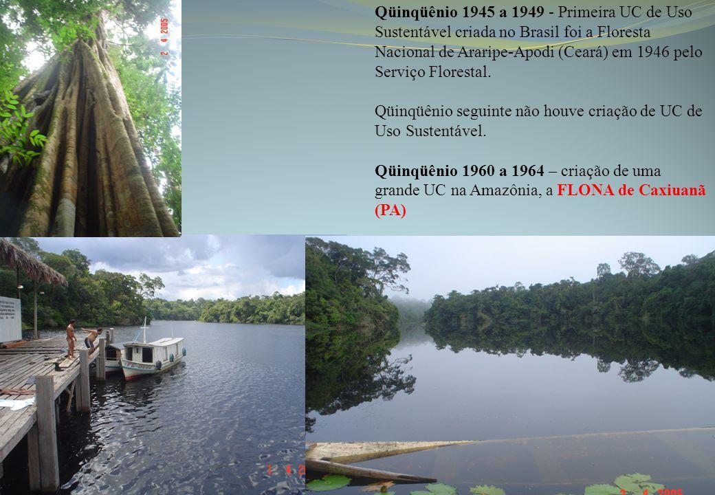 Qüinqüênio 1945 a 1949 - Primeira UC de Uso Sustentável criada no Brasil foi a Floresta Nacional de Araripe-Apodi (Ceará) em 1946 pelo Serviço Florest