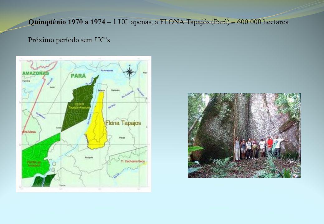 Qüinqüênio 1970 a 1974 – 1 UC apenas, a FLONA Tapajós (Pará) – 600.000 hectares Próximo período sem UC's