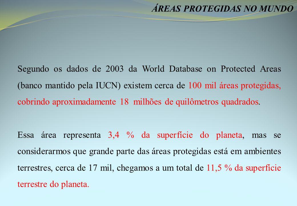 Segundo os dados de 2003 da World Database on Protected Areas (banco mantido pela IUCN) existem cerca de 100 mil áreas protegidas, cobrindo aproximadamente 18 milhões de quilômetros quadrados.