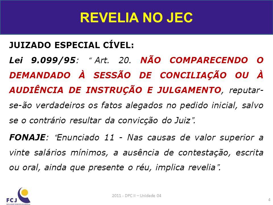 JUIZADO ESPECIAL CÍVEL: Lei 9.099/95: Art.20.