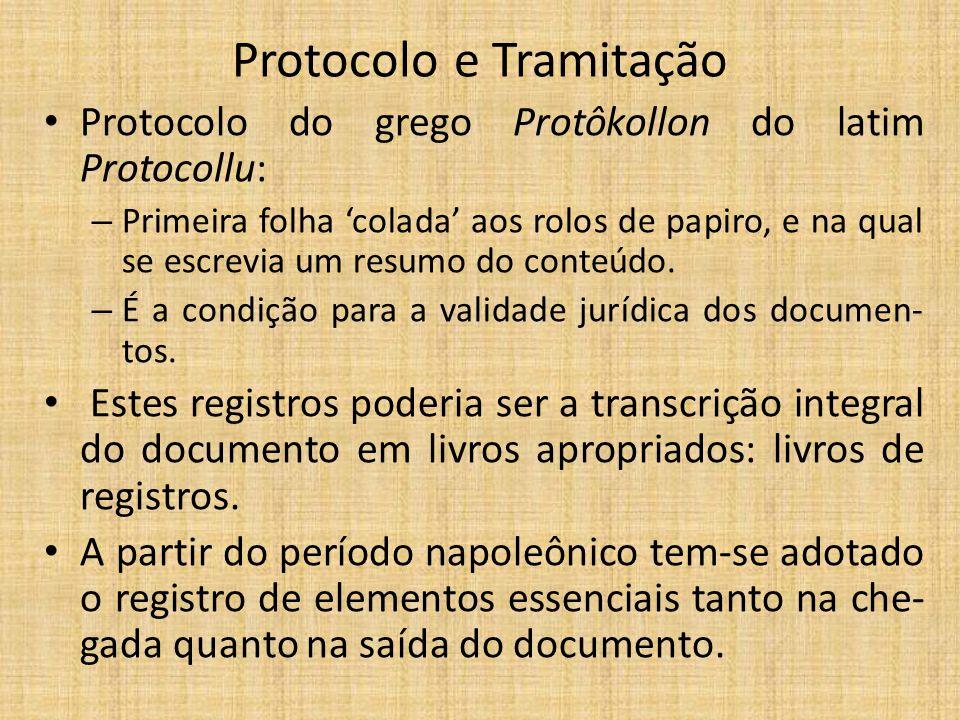 Protocolo e Tramitação Protocolo do grego Protôkollon do latim Protocollu: – Primeira folha 'colada' aos rolos de papiro, e na qual se escrevia um resumo do conteúdo.