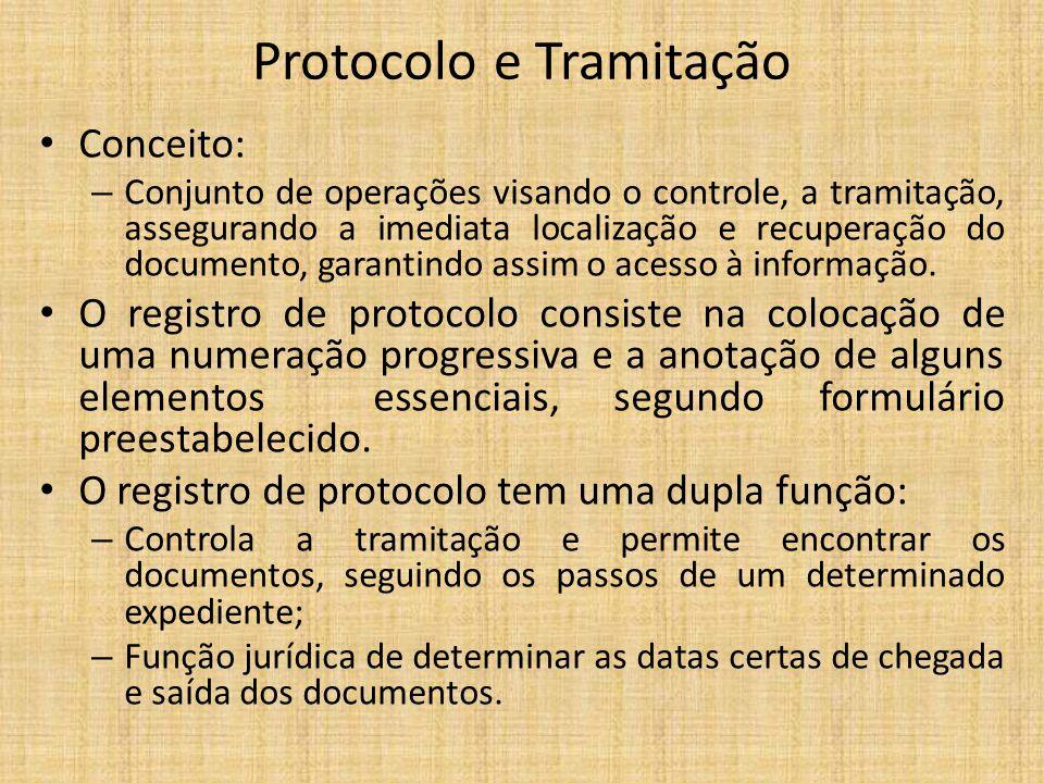Protocolo e Tramitação Conceito: – Conjunto de operações visando o controle, a tramitação, assegurando a imediata localização e recuperação do documen
