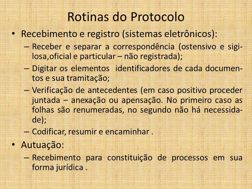 Rotinas do Protocolo Recebimento e registro (sistemas eletrônicos): – Receber e separar a correspondência (ostensivo e sigi- losa,oficial e particular