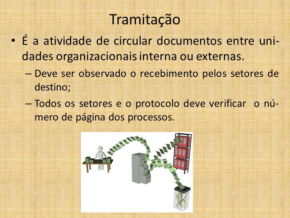 Tramitação É a atividade de circular documentos entre uni- dades organizacionais interna ou externas. – Deve ser observado o recebimento pelos setores