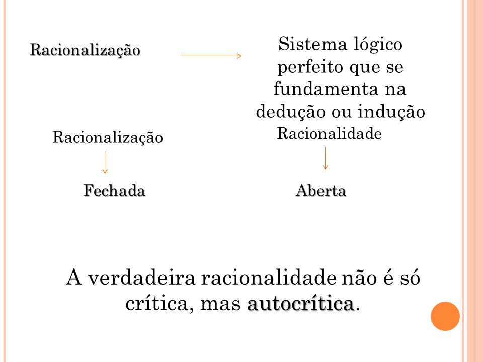 Racionalização Sistema lógico perfeito que se fundamenta na dedução ou indução autocrítica A verdadeira racionalidade não é só crítica, mas autocrític