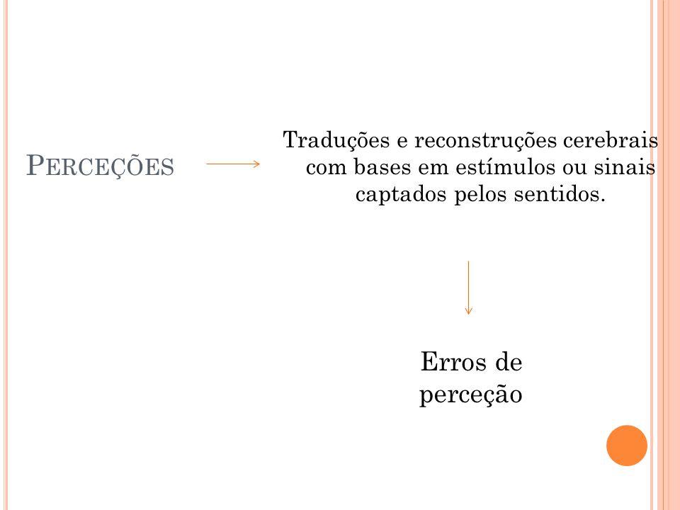 P ERCEÇÕES Traduções e reconstruções cerebrais com bases em estímulos ou sinais captados pelos sentidos. Erros de perceção