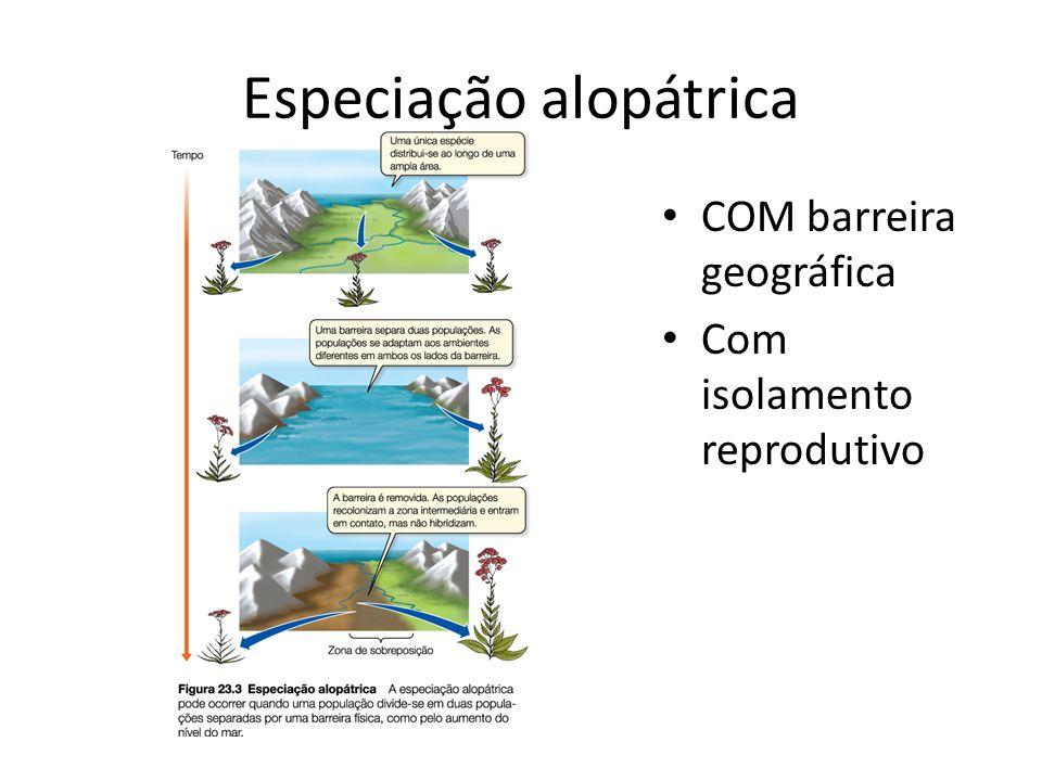 Especiação alopátrica COM barreira geográfica Com isolamento reprodutivo
