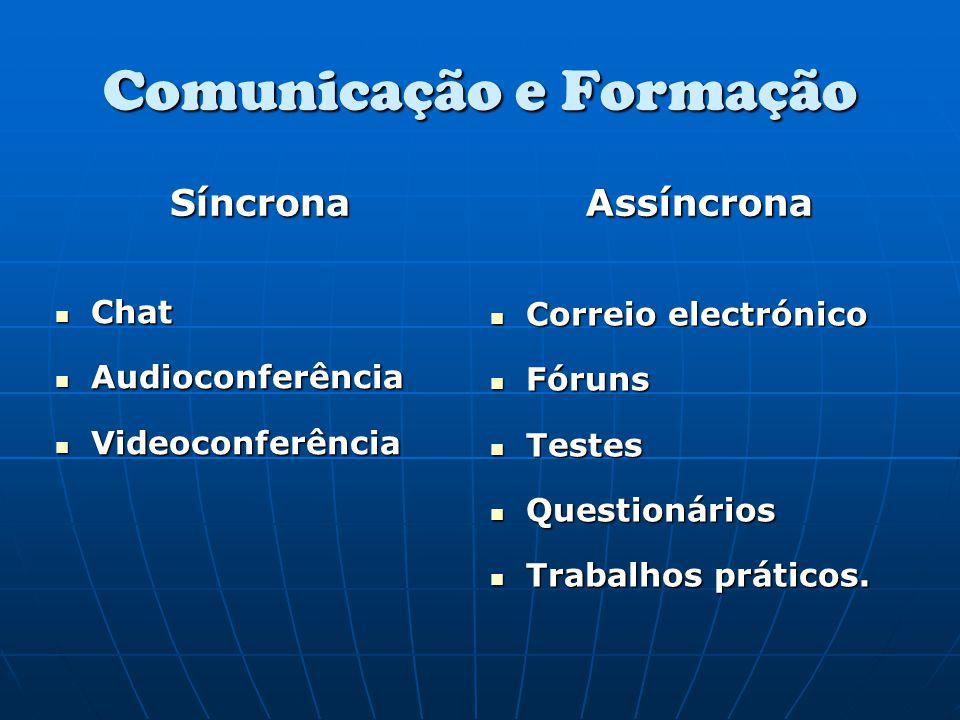 Comunicação e Formação Síncrona Chat Chat Audioconferência Audioconferência Videoconferência Videoconferência Assíncrona Correio electrónico Correio e
