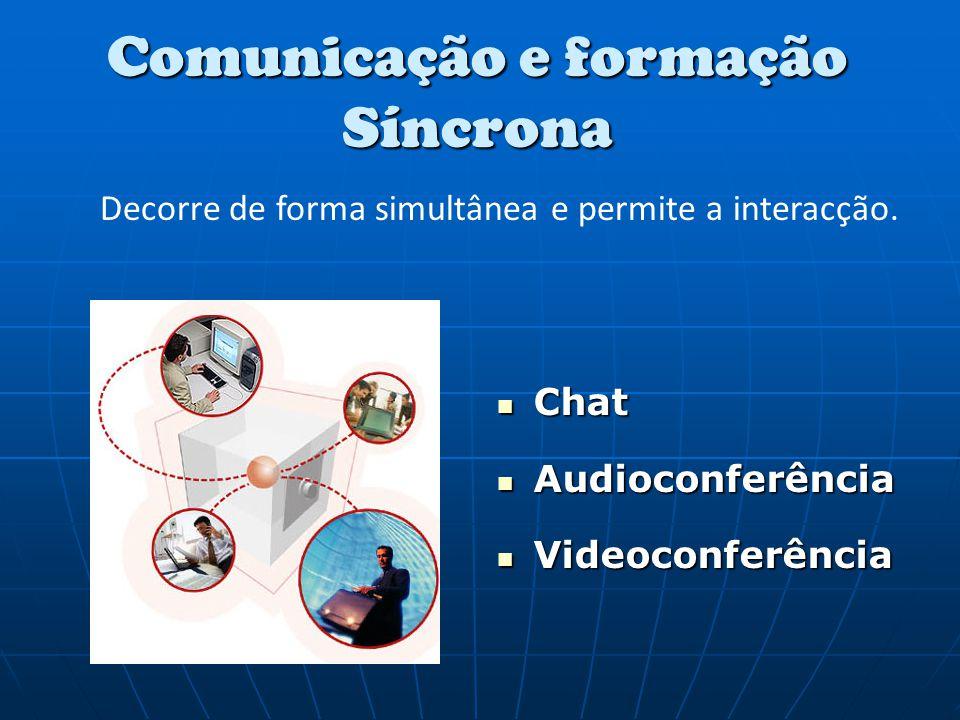 Comunicação e formação Síncrona Chat Chat Audioconferência Audioconferência Videoconferência Videoconferência Decorre de forma simultânea e permite a