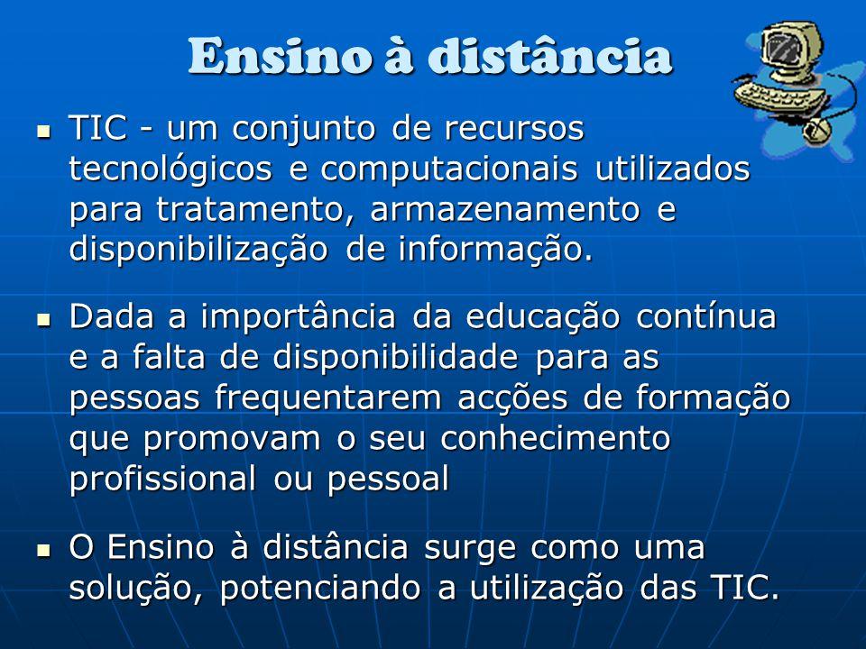 Ensino a distância é a actividade com objectivos de formação que se concretiza encontrando-se o professor e o aluno em lugares geograficamente distantes, e que tem como suporte de comunicação, as Tecnologias de Informação e de Comunicação… (Rodrigues cit in Melo, 2005).