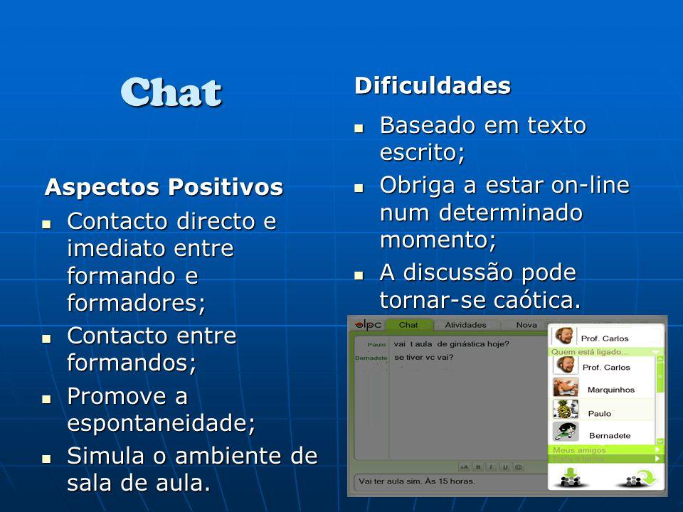 Chat Aspectos Positivos Contacto directo e imediato entre formando e formadores; Contacto directo e imediato entre formando e formadores; Contacto ent