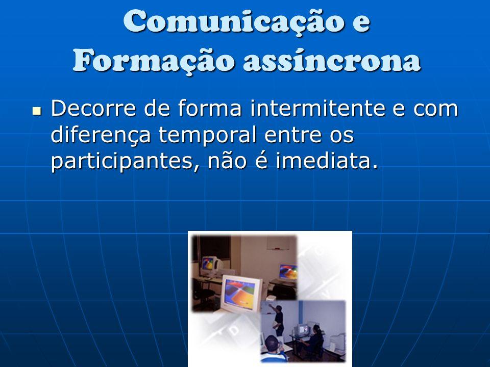 Decorre de forma intermitente e com diferença temporal entre os participantes, não é imediata. Comunicação e Formação assíncrona