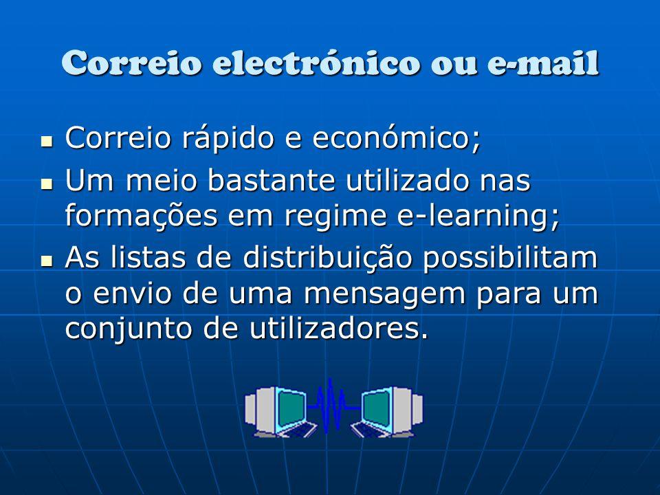 Correio electrónico ou e-mail Correio rápido e económico; Um meio bastante utilizado nas formações em regime e-learning; As listas de distribuição pos